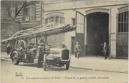 75 Paris 75017  Sapeurs-pompiers De Paris   Depart  De La  Grande Echelle Automobile - Distretto: 17