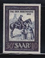 Saar 1952 Briefmarken-Ausstellung IMOSA Reitender Postbote Mi.-Nr. 316 **  - Germany