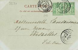 TP N ° 102 En Paire Horizontale Sur Carte Postale De Coutances Postée à Port-Bail - Marcofilie (Brieven)