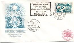 Wallis 1958 - FDC Déclaration Droits De L'homme Avec Cachet Spécial - Mata-Utu - Covers & Documents
