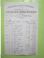 GRAND BAZAR DE L'INDUSTRIE - GOUST-BOUYGES à CLAMECY (58) Facture De 1919 à 1923 - 2 Timbres Quittances 25c - Artigianato