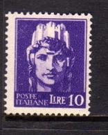 ITALIA REGNO ITALY KINGDOM 1945 LUOGOTENENZA REGENCY IMPERIALE EMISSIONE DI ROMA FILIGRANA RUOTA WHEEL LIRE 10 MNH - 5. 1944-46 Lieutenance & Humbert II: