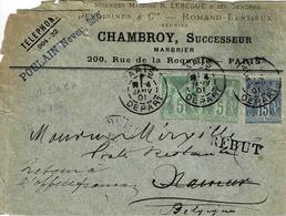 TP N ° 102 En Paire Horizontale Et 90 Sur Enveloppe De Paris Pour Namur Avec Retour à L'envoyeur Puis REBUT - Postmark Collection (Covers)