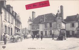 """23- AUZANCES- La Place- Animation- 2 Attelages-""""Café-Restaurant"""" -Commerces- - Auzances"""