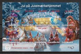 Bloc De 10 Vignettes De Noël Du Danemark 2019 Adhésives - Abarten Und Kuriositäten