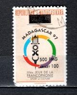 MADAGASCAR N° 1681AV   SURCHARGE LOCALE OBLITERE   COTE  ? €    FRANCOPHONIE SPORT CULTURE  VOIR DESCRIPTION - Madagascar (1960-...)