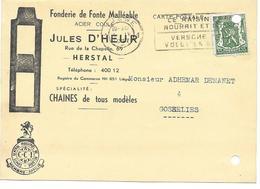 FONDERIE FONTE MALLEABLE JULES D HEUR HERSTAL - DEMANET GOSSELIES SUR CARTE - Belgique
