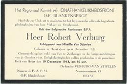 Doodbrief: VERBURG Robert: ° Heist Aan Zee, 1921 Gesneuveld Zeebrugge, 21 Okt 1944. Echt. Mireille VAN STIPELEN - Religion & Esotericism