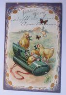 Ostern, Küken, Tasche, Blumen, Schmetterling, 1912  ♥  - Pâques