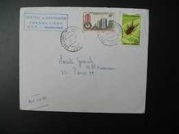 Lettre  Thème Insectes Metopodontus  Et Cimenterie Domaniale  Congo 1970   Pour La Sté Générale Bd Haussmann Paris - Oblitérés