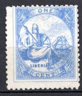 LIBERIA (République) - 1880 - N° 10 - 1 C. Bleu-gris - (Allégorie De La Liberté) - Liberia