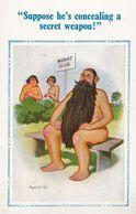 Charles Manson Type Hippy Beard Nudist Camp Risque 1970s Comic Humour Postcard - Humor
