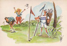 Portugal Golf Golfer Golfing Comic Cartoon Postcard - Humour