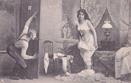 German Peeping Tom Risque Adult Antique Postcard - Humor