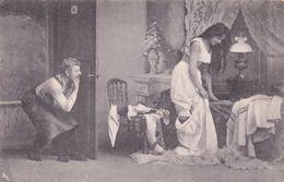German Peeping Tom Risque Antique Old Postcard - Humor