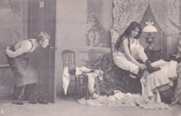 German Peeping Tom Through Keyhole Risque Adult Antique Postcard - Humor