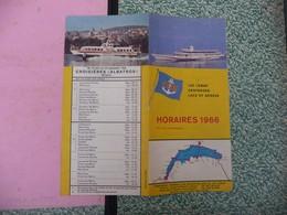 HORAIRES 1966 Croisières Bateaux ALBATROS ( Lac Léman Genfersee Lake Of Geneva - Tourism Brochures