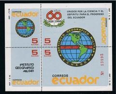Ecuador Hojita Block 78 1988 Instituto Geográfico Militar MNH - Francobolli