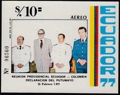 Ecuador Hojita Block 32 1977 Reunión Presidencial Colombia Putumayo MNH - Stamps