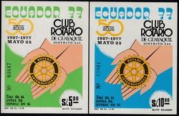 Ecuador Hojita Block 33/34 1977 Club Rotario Rotary Guayaquil MNH - Stamps