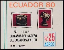 Ecuador Hojita Block 47 1980 Cien Años Del Ingreso Del Ecuador A La UPU MNH - Stamps