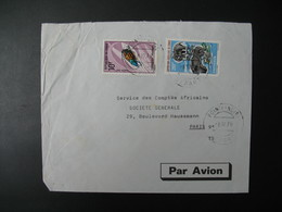 Lettre Thème Animaux Dinoterium  Insectes Sternotomis Congo 1970  Pour La Sté Générale Bd Haussmann Paris - Oblitérés