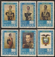 Ecuador A- 547/52 1972 150 Aniversario Batalla Pichincha Bolivar MNH - Ohne Zuordnung