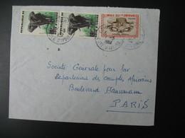 Lettre Thème Animaux éléphants Et Masque Senoufo  Côte D'Ivoire  1970  Pour La Sté Générale Bd Haussmann Paris - Ivory Coast (1960-...)