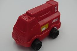 Vintage VINYL TOY CAR : Maker FLEXI TOYS SWEDEN -  Red Fire Truck  9.00cm - 1980-90's - Rubber - Voitures, Camions, Bus