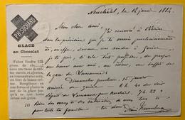 9265 - Suchard Recette Glace Au Chocolat Neuchâtel 12.01 1882 Pour Lausanne - Entiers Postaux