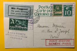9267 - Poste Aérienne Genève-Paris Genève 31.05.1925 Sur Entier Postal - Interi Postali