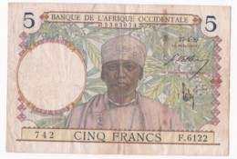 Banque De L'Afrique Occidentale 5 Francs 2 - 04 - 1939, Alphabet 7.6122 N° 742 - Stati Dell'Africa Occidentale