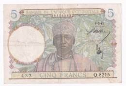 Banque De L'Afrique Occidentale 5 Francs 6 – 3 - 1941, Alphabet Q.8215 N° 432 . TTB/ SUP - West African States