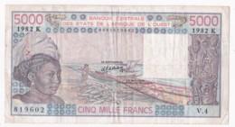 Sénégal B.C.E.A.O., 5000 Francs 1982 K Alphabet V.4 N° 819602 - Sénégal