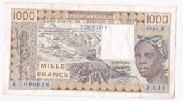 Sénégal B.C.E.A.O., 1000 Francs 1985 K Alphabet J.011 N° 090618 - Senegal