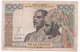 Côte D'Ivoire, 1000 Francs Type 1959-65, Alphabet A.147 A N° 70626 - Elfenbeinküste (Côte D'Ivoire)