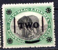 LIBERIA (République) - 1904 - N° 80 - Two S. 4 C. Vert Et Noir - (Eléphant) - Liberia