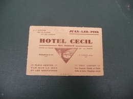 HOTEL CECIL à JUAN LES PINS  Rue Jonnard - Visiting Cards