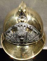 Casque-de-pompiers-en-laiton-complet, De La Ville-de-BEAUZAC-1895 - Casques & Coiffures