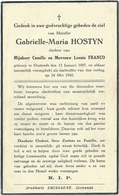Doodsprentje: HOSTYN Gabrielle-Maria: ° Oostende, 1907,+ Oostende, 24 Mei 1940. Dochter Camille En Leonie FRANCO - Religion & Esotérisme