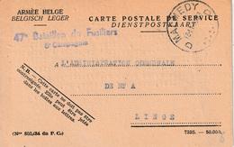 "OSTCANTONS : CARTE POSTALE DE SERVICE  3malmedy 18.11.45"" Naar LIEGE + Viol. Griffe ""47° BATAILLON DE FUSELIERS"" - Unclassified"
