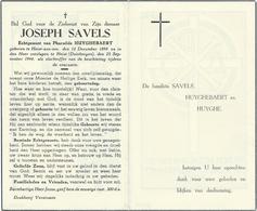 Doodsprentje: SAVELS Joseph: ° Heist Aan Zee, 1898, + Duinbergen, 25 Sept 1944. Echt. Pharailde HUYGHEBAERT Slachtoffer - Religion & Esotérisme