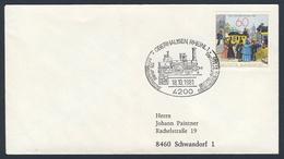 Deutschland Germany 1981 Brief Cover - 125 Jahre Eisenbahnstrecke Oberhausen - Holland / Railway Line / Chemin De Fer - Treinen