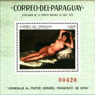 92148) PARAGUAY-100 ANN. DELL'EPOPEA NAZIONALE-LA MAYA DESNUDA DI GOYA-BF- MNH** - Paraguay