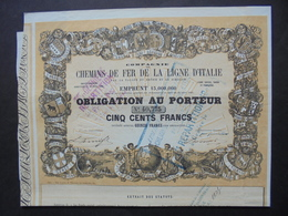 ITALIE - 1857 - CIE CDF LIGNE D'ITALIE, PAR LA VALLEE DU RHONE ET LE SIMPLON - OBLIGATION 500 FRS - BELLE DECO - Azioni & Titoli