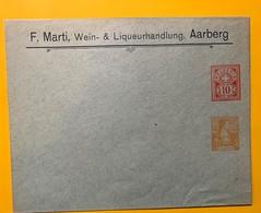 9270 -  Entier Postal Privé F.Marti Wein & Liqueurhandlung Aarberg Type Chiffre 10 Ct + Buste Hélvétia 12 Ct - Entiers Postaux