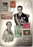 Principauté De Monaco Carte Souvenir SAS Rainier III Grace Kelly 1956 Timbres De Monaco Philathélie Pechitch - Prince's Palace