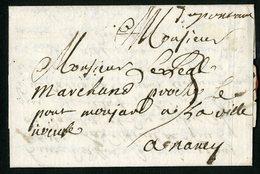 """1719 MEURTHE ET MOSELLE Cote 500 € """"Du Pont à M"""" (Pont-à-Mousson) Manuscrite (Lenain N°6,  Indice 20). - Marcophilie (Lettres)"""