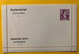 9288 - Carte-Lettre Privée Gebrüder Roth Oftringen Helvetia 15 Ct Viollet - Entiers Postaux