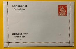9290 - Carte-Lettre Privée Gebrüder Roth Oftringen Helvetia Assise 20 Ct Rouge - Enteros Postales